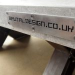 """""""Polished Concrete and Steel Coffee table"""" """"Brutal Design logo plate"""""""