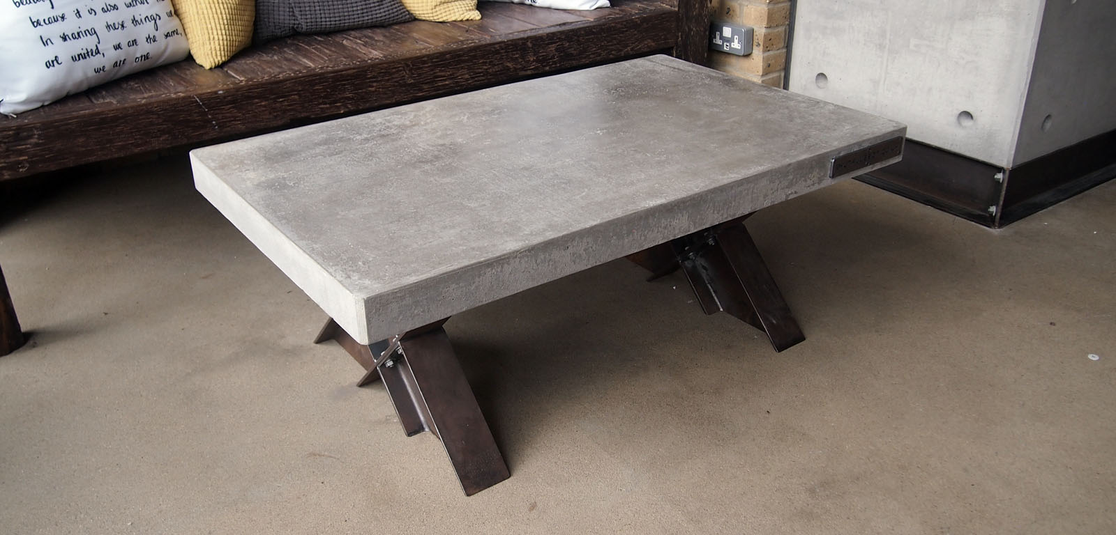 """""""Polished Concrete Coffee Table"""" Cast concrete and steel furniture"""" """"By Brutal Design"""""""