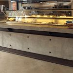 Polished Concrete and steel up-stand and bar counter for cooler unit