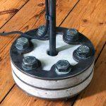 """Concrete floor lamp base steel plate close-up"" ""by Brutal Design"""