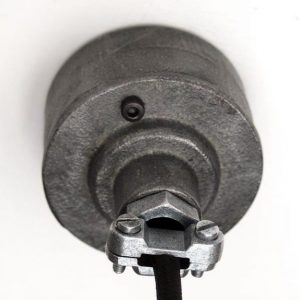 """Raw iron Industrial Galvanised Conduit Ceiling Rose with cable grip"""