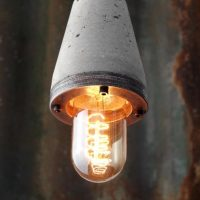 """Industrial concrete and steel exposed bulb pendant light"" ""by Brutal Design"""