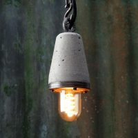 """Industrial concrete pendant light"" ""Industrial Pendant light""""concrete and steel exposed bulb light"" ""by Brutal Design"""