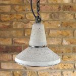 """Concrete and Steel Pendant Light with glass dome lens view from above"" "" by Brutal Design"""