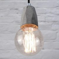 """Concrete bare bulb pendant light fitting"" ""by Brutal Design"""