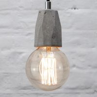 """Concrete bare bulb pendant light fitting"" ""Exposed bulb lamp"" ""by Brutal Design"""