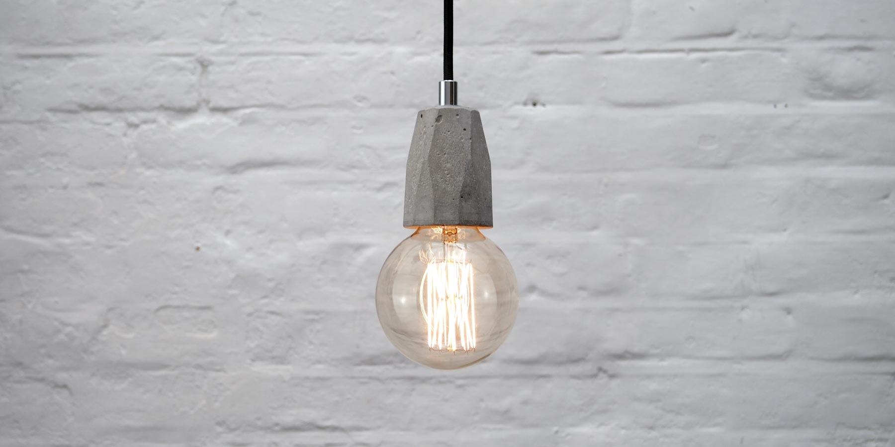 Concrete Bare Bulb Pendant Light Fitting