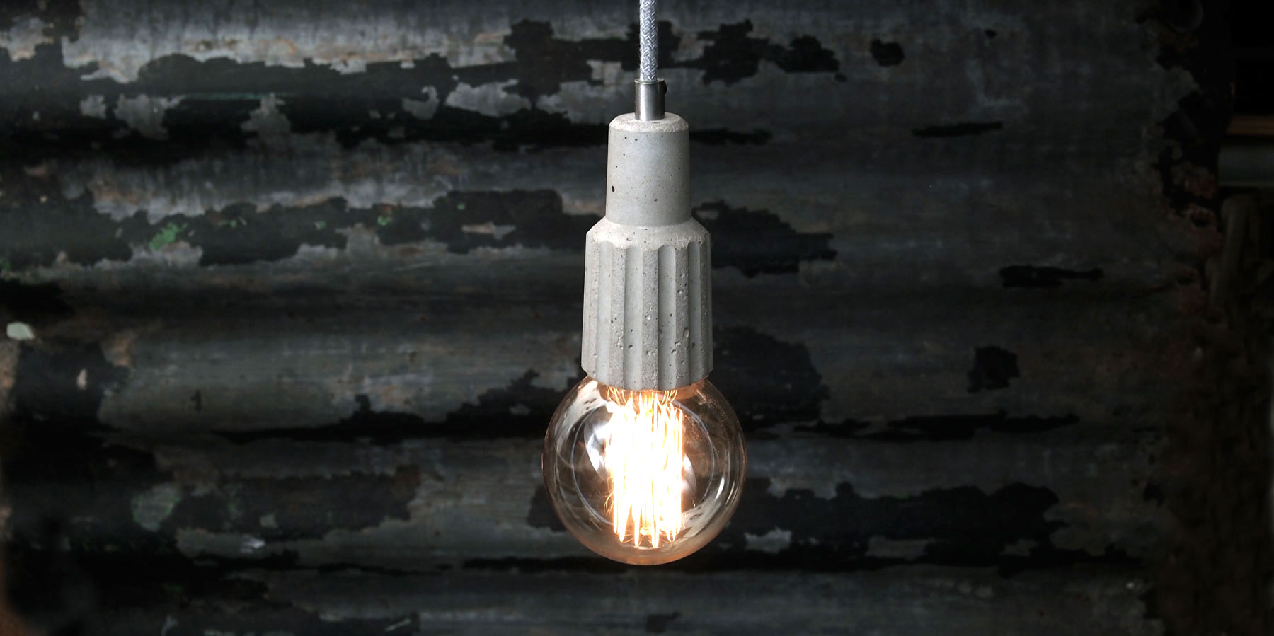"""""""Exposed bulb pendant light fitting"""" """"Concrete exposed bulb"""" """"by Brutal Design"""""""